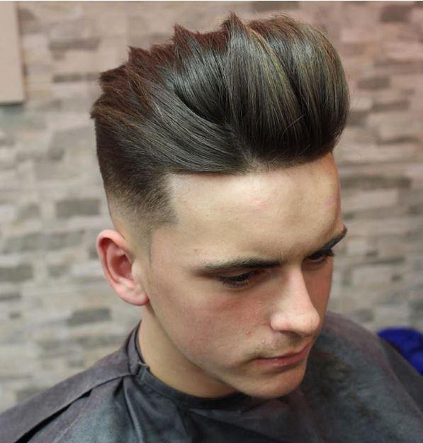 high fade + long separated hair top