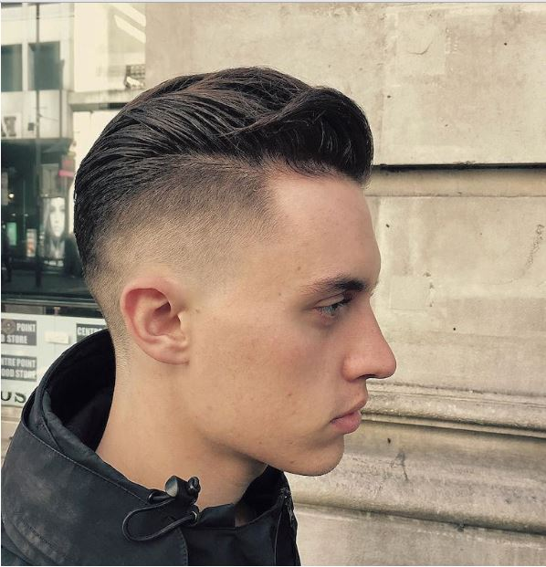 high fade medium pompadour