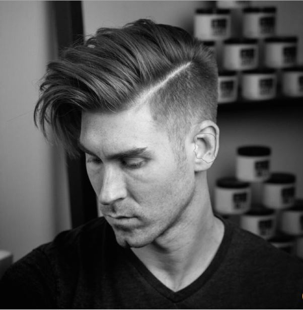 high fade+long blown dry hair