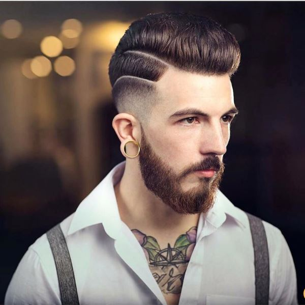 high lo fade and pompadour