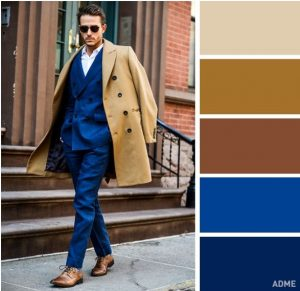bright blue and beige