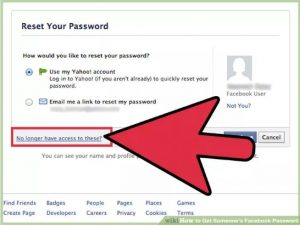 reset password facebook