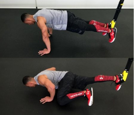 TRX spiderman pushup