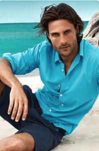 blue shirt and shorts