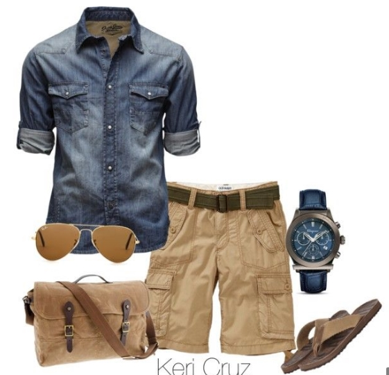 cargo shorts denim shirt
