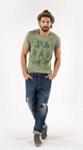 greenish T-shirt