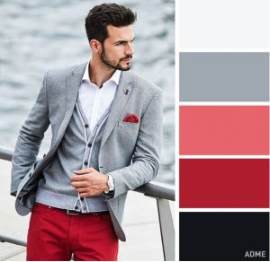light grey and red colours
