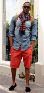 shorts-and-denim-shirt