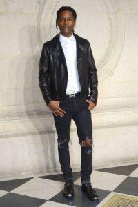 black-biker-jacket-white-dress-shirt-black-jeans-gold-derby-shoes