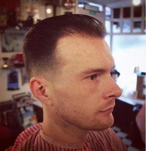 brushed back hairstyle