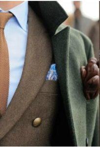 blue shirt-brown tie