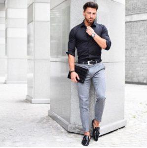 black shirt grey trousers