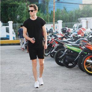 black t-shirt and shorts