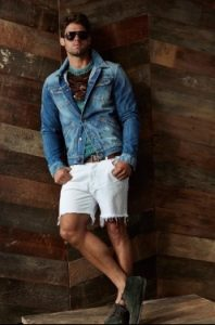 lefko denim shorts + denim jacket