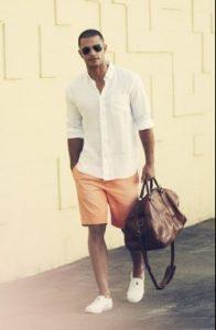 lefko poukamiso + portokali shorts
