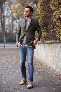 f8inopwrino outfit gia gamo, ladi sakaki kai mplouza, jeans, mpez papoutsi me kordonia, aksesouar foulari