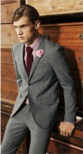 pink shirt grey suit