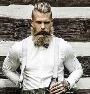 thick beard-slicked back hair