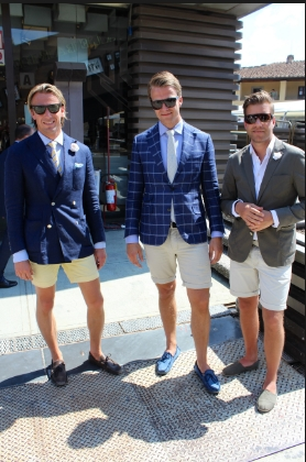shorts and suit jacket