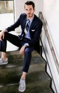 sneakers and suit