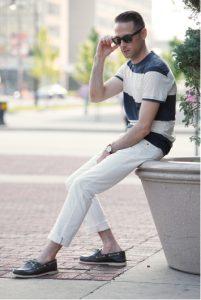 white jeans striped t-shirt