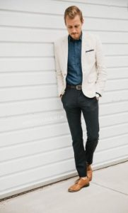 blazer and navy trousers