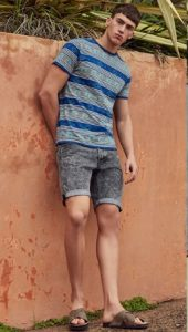 t-shirt and denim shorts men