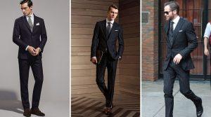 μαύρο ριγωτό κοστούμι