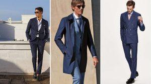 μπλε ριγωτό κοστούμι
