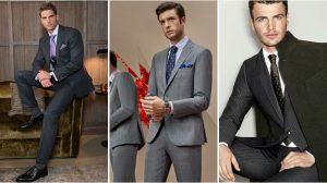 γκρι ριγωτό κοστούμι