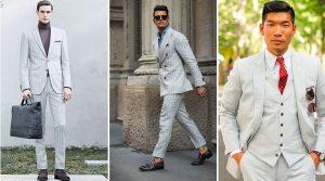 λευκό ριγωτό κοστούμι