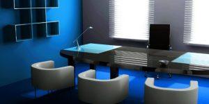 αίθουσα συνεδριάσεων με μπλε τοίχους