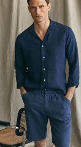 μπλε ντυσιμο αντρικο με πουκαμισο και κοντο παντελονι