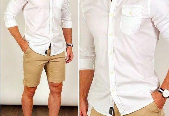 casual outfit βερμούδα-πουκάμισο