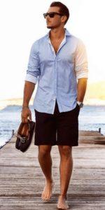 γαλαζιο πουκαμισο με μαυρη βερμουδα