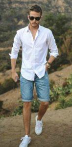 τζιν παντελονι κοντο ανδρικο με πουκαμισο