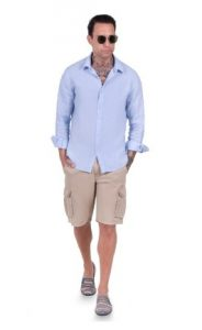αντρικό πουκάμισο λινό γαλάζιο