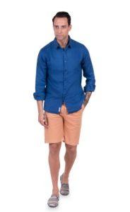 αντρικό πουκάμισο λινό μπλε