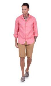 αντρικό πουκάμισο λινό ροζ