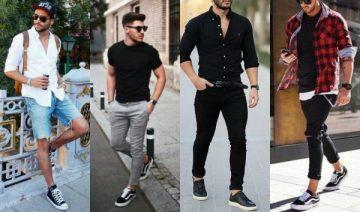 ανδρικά μαύρα sneakers συνδυασμοί με ρούχα