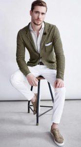 αντρικό σακάκι λαδί συνδυασμένο με λευκό Outfit