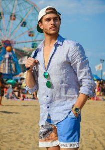 γαλάζιο λινό πουκάμισο με μπλε μαγιό
