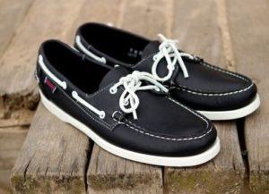 σκούρο μπλε δερμάτινα boat-shoes