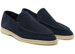 μπλε σουέντ loafers