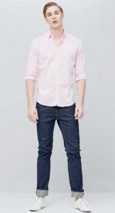 ροζ αντρικό πουκάμισο τύπου Oxford