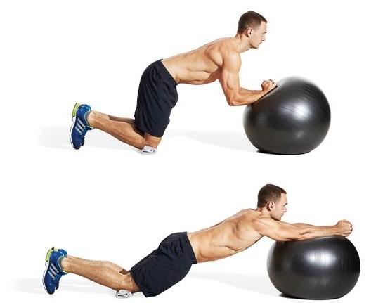 swiss ball rollout-ρολάρισμα με ελβετική μπάλα