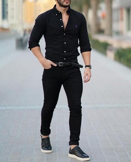total black look με πουκάμισο