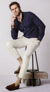 λευκό chinos παντελόνι με πουκάμισο