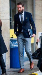 business outfit με γαλάζιο Oxford πουκάμισο