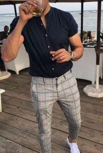 καρό παντελόνι με πουκάμισο